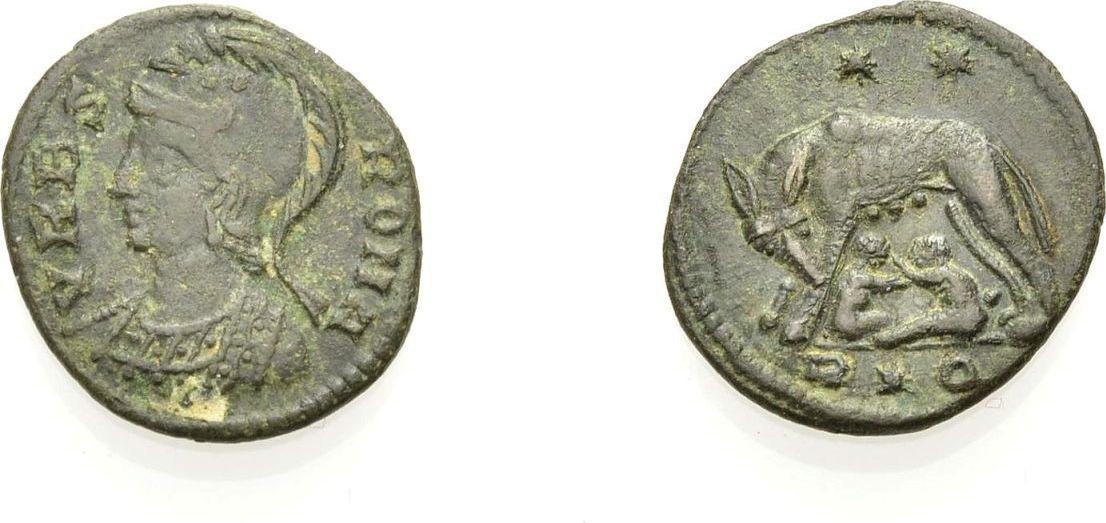 Ae Kleinbronze 336 337 Rom Kaiserzeit Urbs Roma Constantinische