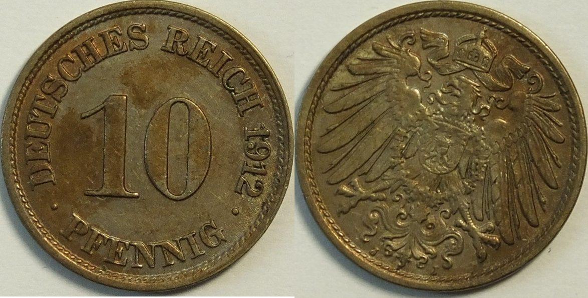 10 Pfennig 1912 J Kaiserreich Deutsches Reich Tb Ma Shops