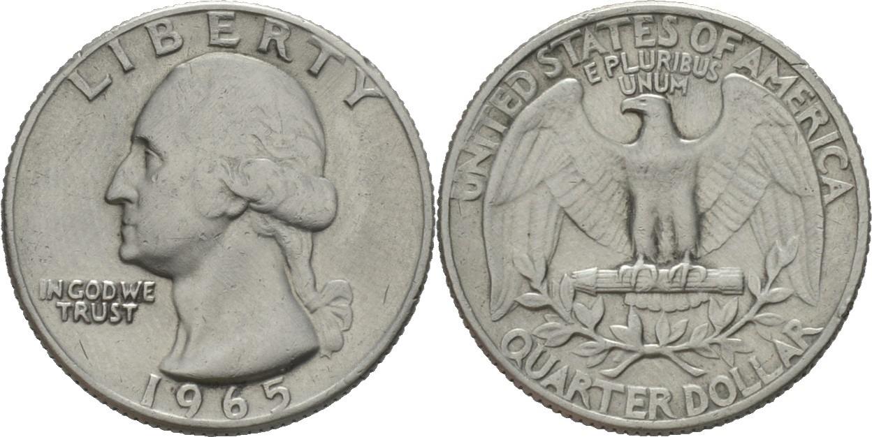 14 Dollar Quarter 1965 Amerika Präsident Von Amerika George Washington 17321799 Vz