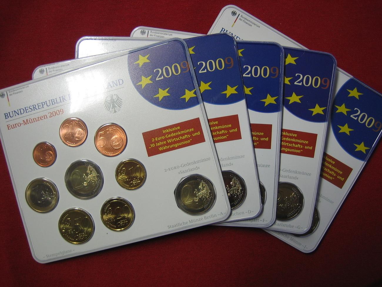 588 2009 Brd Brd Kms 2009 Adfgj Mit 2 Euro Sondermünzen Fdc