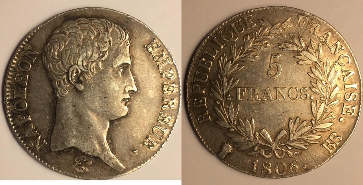 5 Francs 1806 Bb France Frankreich Napoleon Bonaparte Empereur