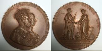 Grosse Bronzemedaille 1860 Schweden / Sweden Karl XV - die Krönung am 3 Maj 1860 vzgl