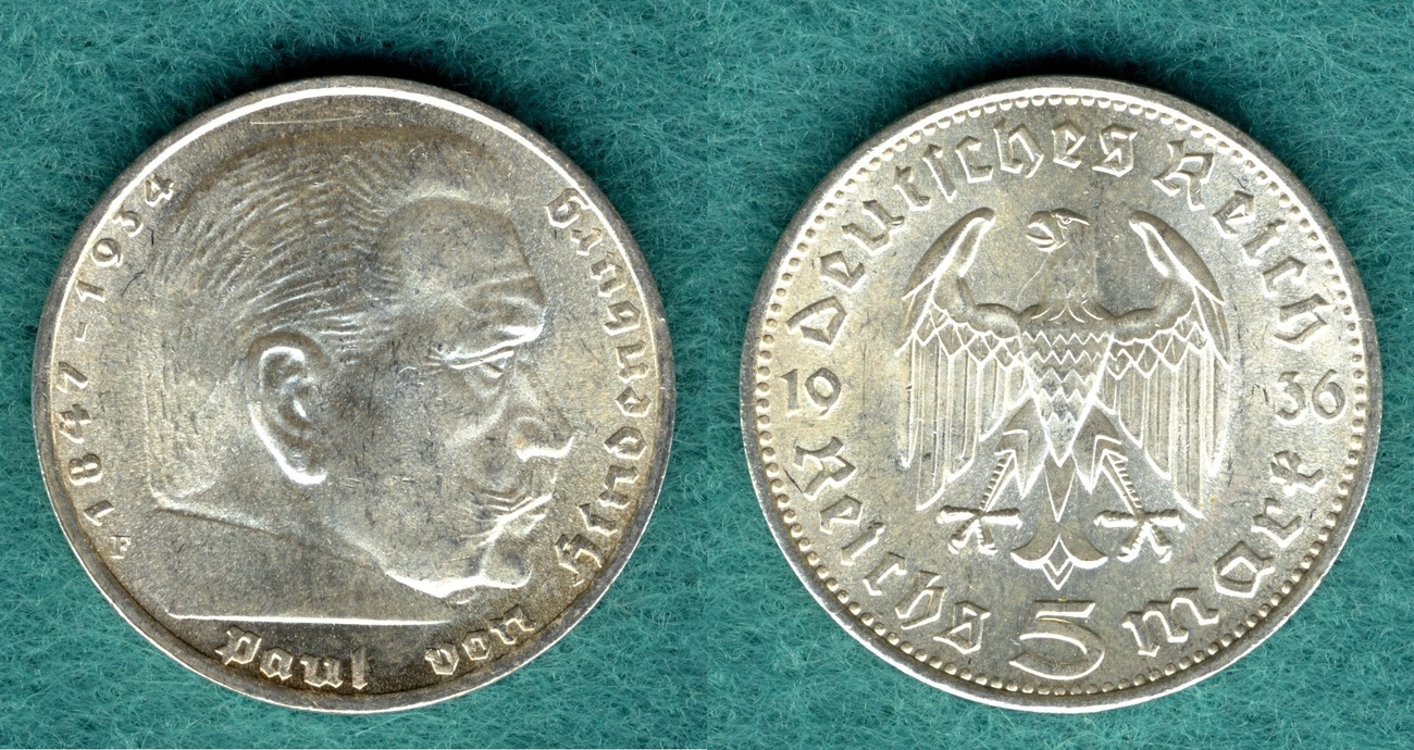 5 Reichsmark 1936 F Drittes Reich Paul Von Hindenburg Fast Fdc Ma