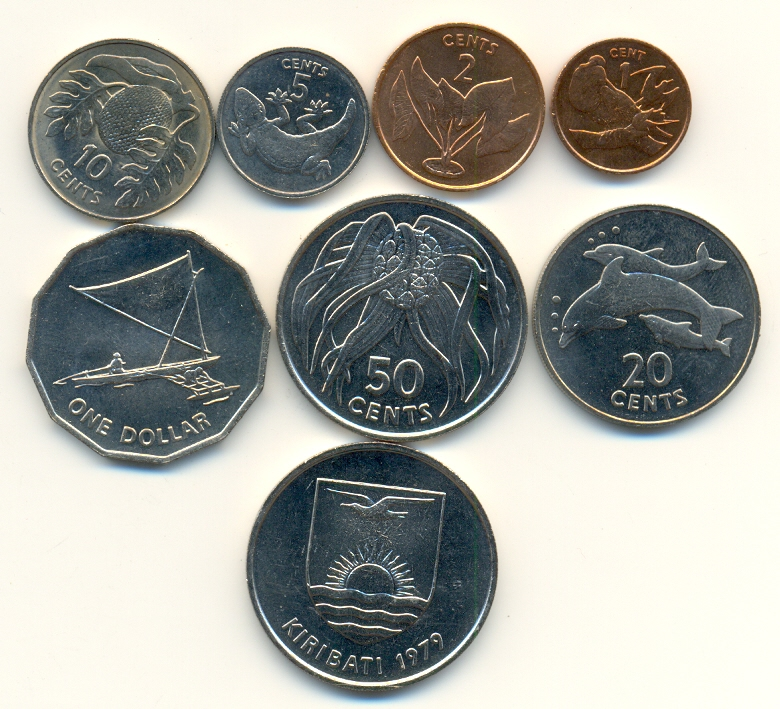 Dollar 1979 Kiribati Kms 7 Werte 1 Cent 1 Dollar 1979 Tiere