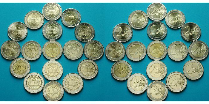 2 Eurobr Xbr 17 Münzen 2007 Euroländer 50 Jahre Römische