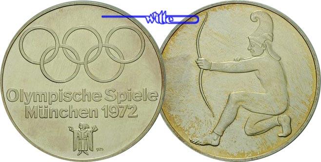 1972 München Deutschland Silbermedaille Zu Olympiade München 1972