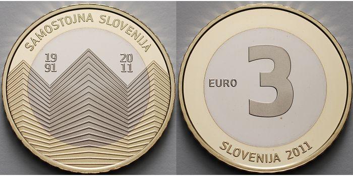 3 Euro 2011 Slowenien Unabhängigkeit Slowenien Vierte 3 Euro Münze