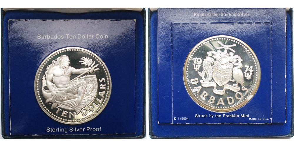10 Br3286gbrfein 18oktober 1974 Barbados Barbados 10 Dollar