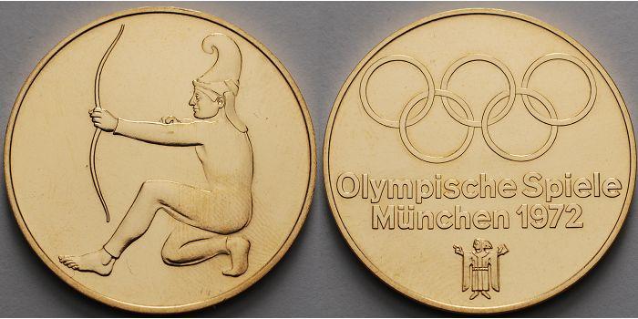 2390g Fein Br33mm ø München 1972 Deutschland Medaille In Gold