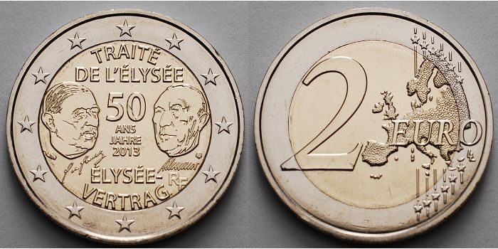 2 Euro 2013 Frankreich 50 Jahre élysée Vertrag Fdc Ma Shops