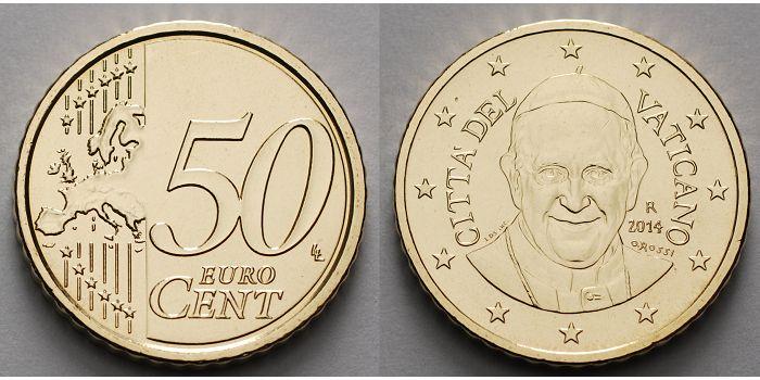 50 Cent 2016 Vatikan Kursmünze 50 Cent Dritte Münze Papst