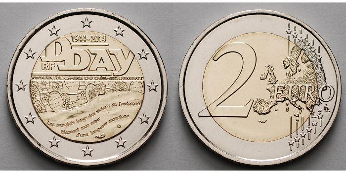 2 Euro 2014 Frankreich 70jahrestag D Day 1944 2014 2