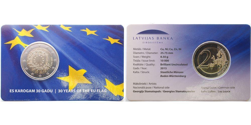 2 Euro 2015 Lettland 30 Jahre Eu Flagge 1985 2015 Lettland