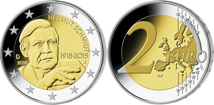 2 Euro 2018 J Deutschland 100 Geburtstag Helmut Schmidt 1918 2015