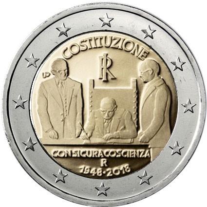2 Euro 2018 Italien 70 Jahrestag Der Verfassung Gedenkmünze Im