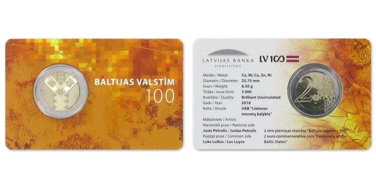 2 Euro 2018 Lettland 100 Jahre Unabhängigkeit Latvija Latvia B