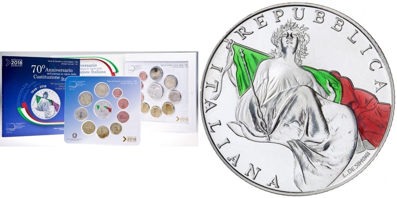 1088 2018 Italien Kursmünzensatz 8 Münzen 5 Euro 2 Euro