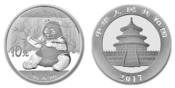 10 Yuan 2017  China Panda Bären 30 Gramm fein, Silber stgl