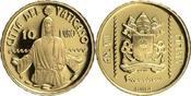 Vatikan 10 Euro<br>2,75g<br>fein<br> 13,85 mm Ø 20