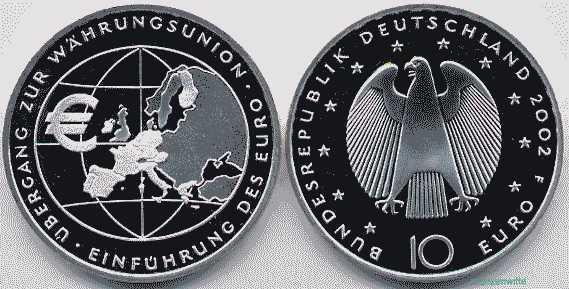 10 Euro 2002 Deutschland übergang Zur Währungsunion Einführung Des