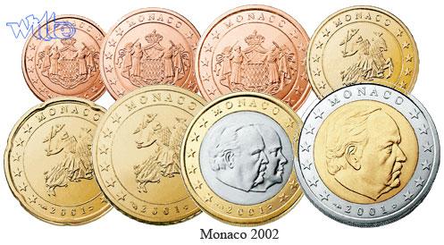 1 Cent 2 Euro 388 2002 Monaco Kursmünzen Satz 2002 Fdc Ma Shops