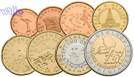 1 Cent 2 Euro 388 2009 Slowenien Kursmünzen Kompl Satz 2009
