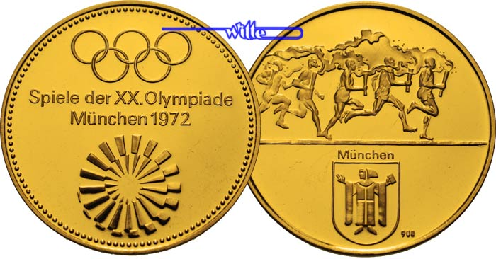 1575g Fein 32mm ø 1972 München Deutschland Goldmedaille Zur Oly