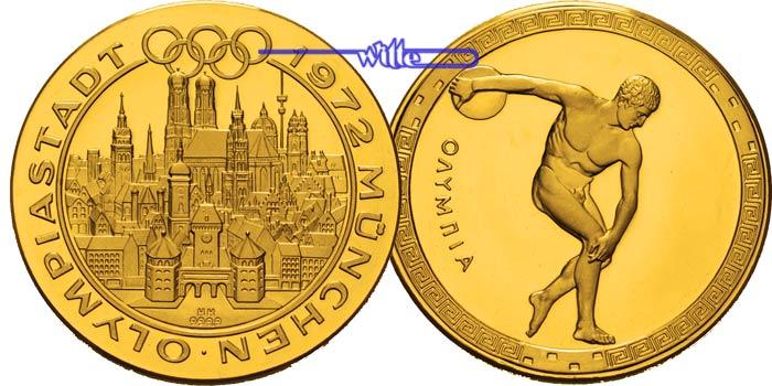 295g Fein 34mm ø 1972 Deutschland Medaille In Gold Olympiastadt