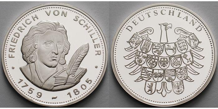 30mm ø Deutschland Medaille Friedrich Von Schiller 1759 1805 In