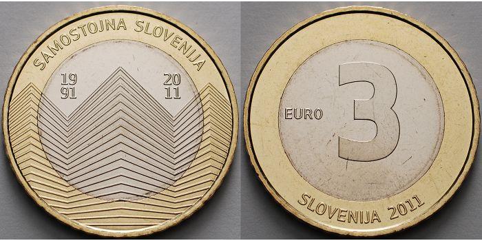 3 Euro 2011 Slowenien Unabhängigkeit Slowenien 1991 2011 Vierte
