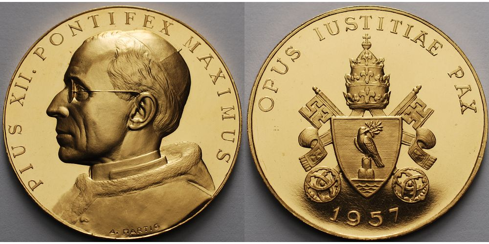 4438g Feinbr405 Mm ø 1957 Medaille In Gold Papst Pius Xii