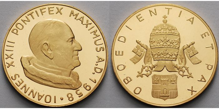 1012g Feinbr25 Mm ø 1958 Medaille In Gold Papst Johannes Xxiii