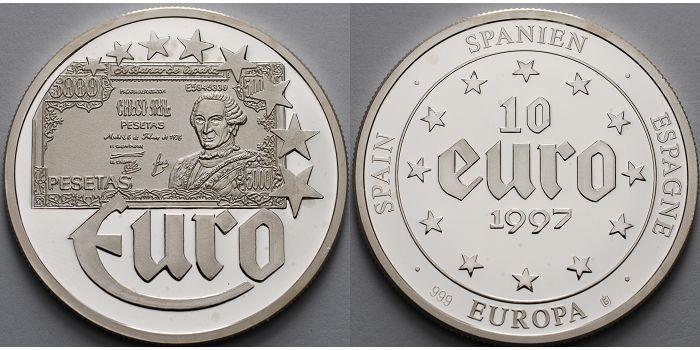 Medaille2004g Fein 40mm ø 1997 Spanien Medaille 10 Eurobanknote