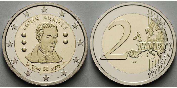 2 Euro 2009 Belgien 200 Geburtstag Louis Braille 1809 2009 Fdc