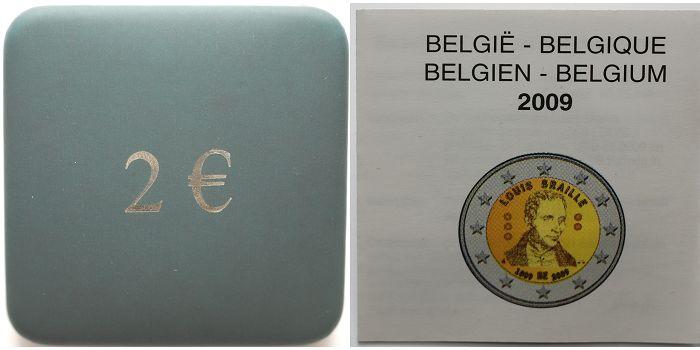 2 Euro 2009 Belgien 200 Geburtstag Louis Braille 1809 2009 Bfb
