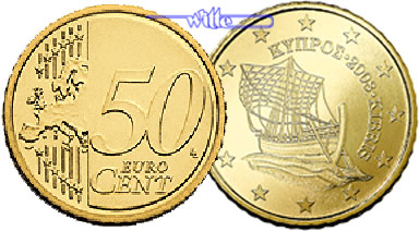 50 Cent 2008 Zypern Kursmünze 50 Cent Fdc Ma Shops